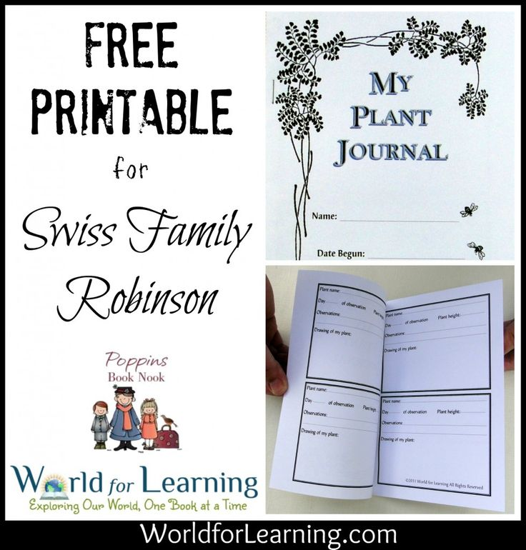 Download our FREE Printable Plant Journal today and start your very own garden as you enjoy Johann David Wyss's Swiss Family Robinson!
