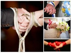 "Handfasting Ceremony is a simple & traditional ceremony used in Irish, Scottish, and Welsh weddings, which goes back to the medieval period. The ritual includes a loose binding together of the couple's hands, which also gave rise to the slang phrase ""to tie the knot"".."