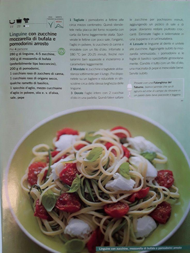 Linguine con zucchine, bufala e pomodori arrosto