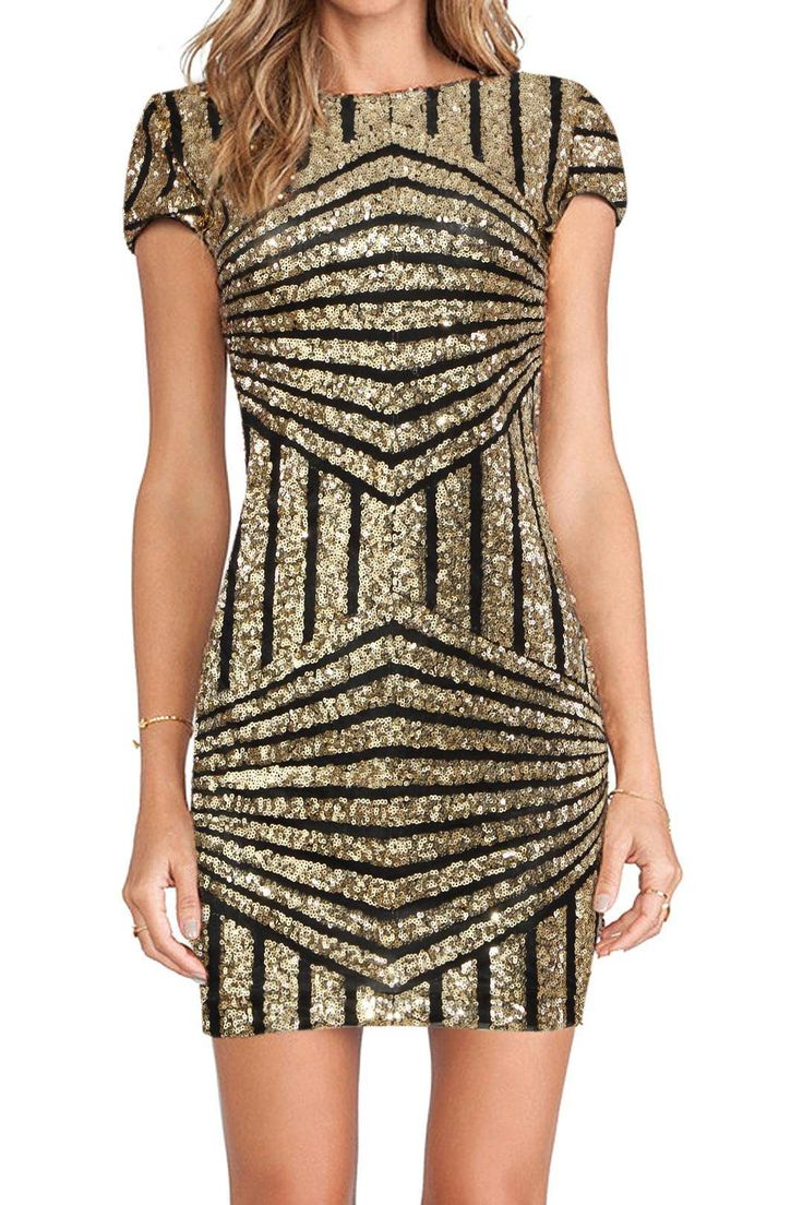 Covered in a pattern of geometric sequins, this sparkling little mini dress offers glitz and glamour for any night out! It's designed with a short sleeve top, a crew neckline, and a tight bodycon fit that makes it look super hot from every angle. Pair it with strappy heels for a great party look.: