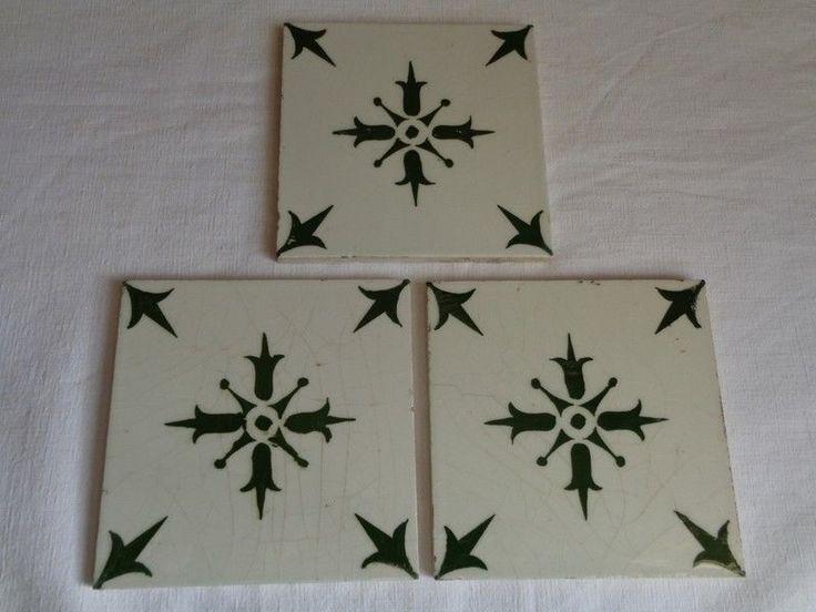 lot de 3 carreaux faience desvres vert et blanc n2 ebay - Faience Vert Et Blanc