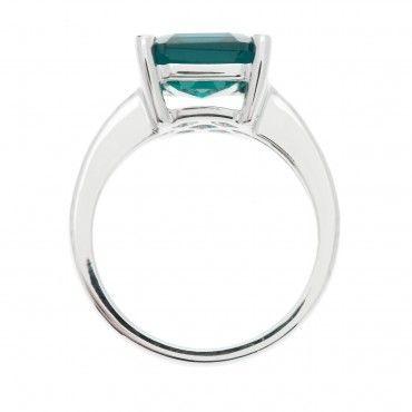 Anello solitario pari a 0.15ct in argento 925 con smeraldo sintetico - QVC Italia