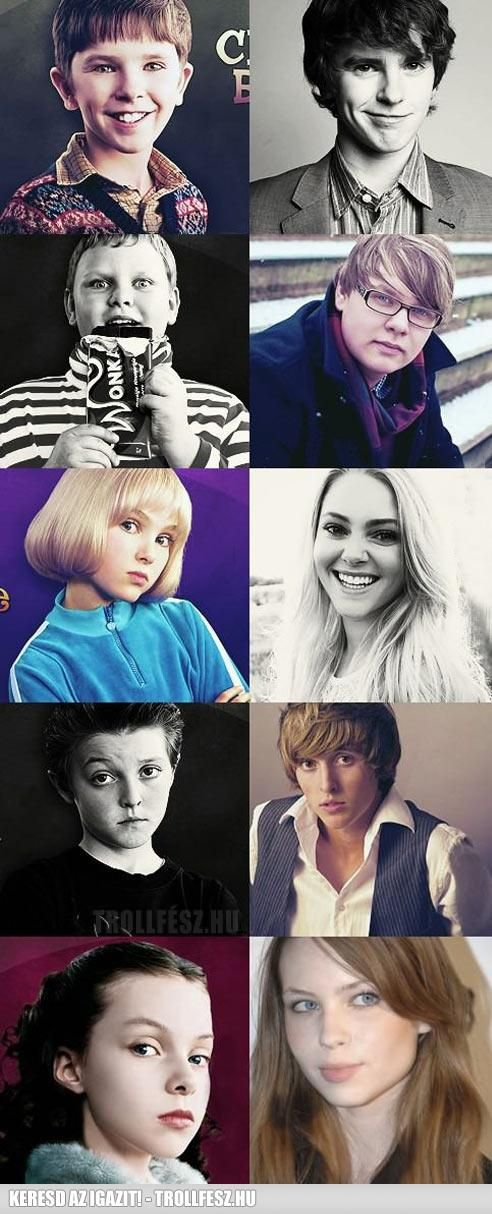 """kids from """"Charlie and the Chocolate Factory"""" then and now........ Uh.. Wow.. Hi there, Charlie.."""