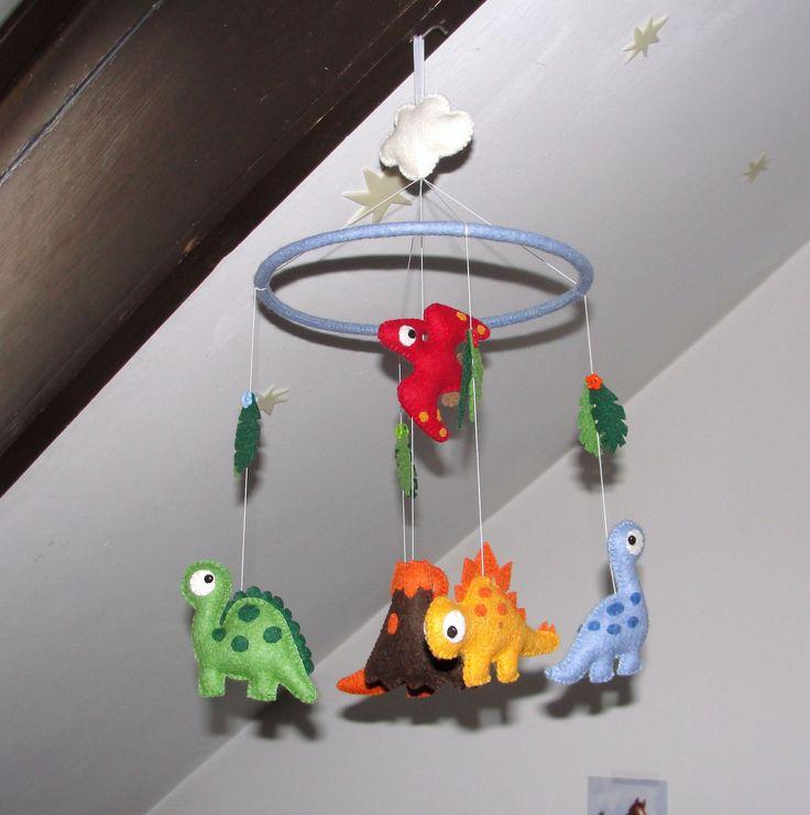 Wool Felt Dino Crib Mobile, Baby Mobile, Nursery Decoration, Dinosaur Ornament, Baby Decor, Gift, Dinosaur Mobile, Hanging Mobile by NitaFeltThings on Etsy