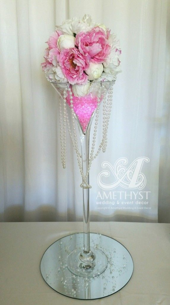 Pink peony pearl martini centerpiece amethyst wedding