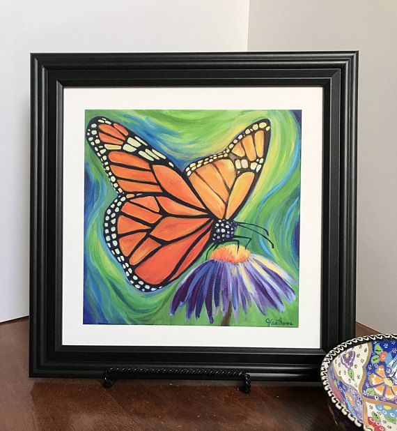 Monarch butterfly acrylic painting and prints Butterfly art