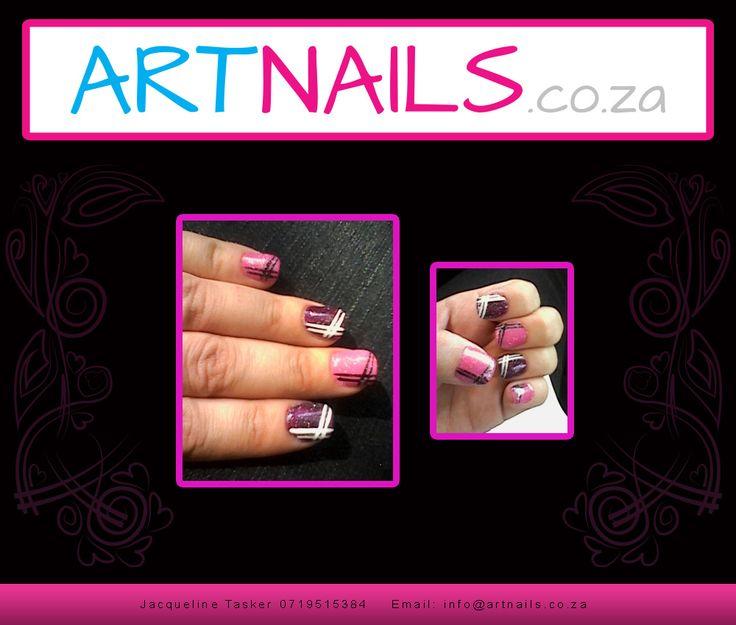 purple and pink acrylic nail art