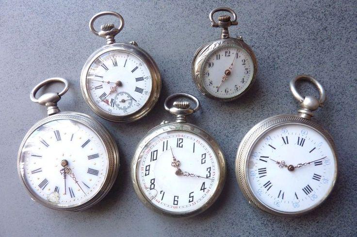 Lot de cinq Montres à gousset fin XIX ème à restaurer ou récupération pièces