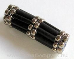 Good spacer beads - this is just a simple peyote tube bead made with bugels.(these are addictive - once made so many I didn't know what to do with them/LL)  #seed #bead #tutorial
