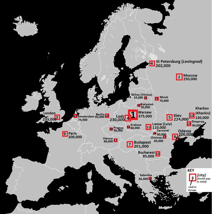 Map of European cities ranked by Jewish