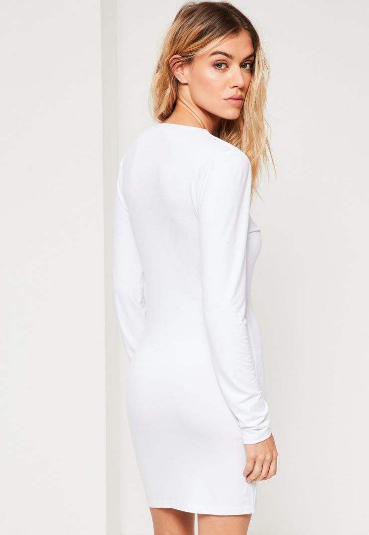 Missguided - White T Harness Front Long Sleeve Bodycon Dress
