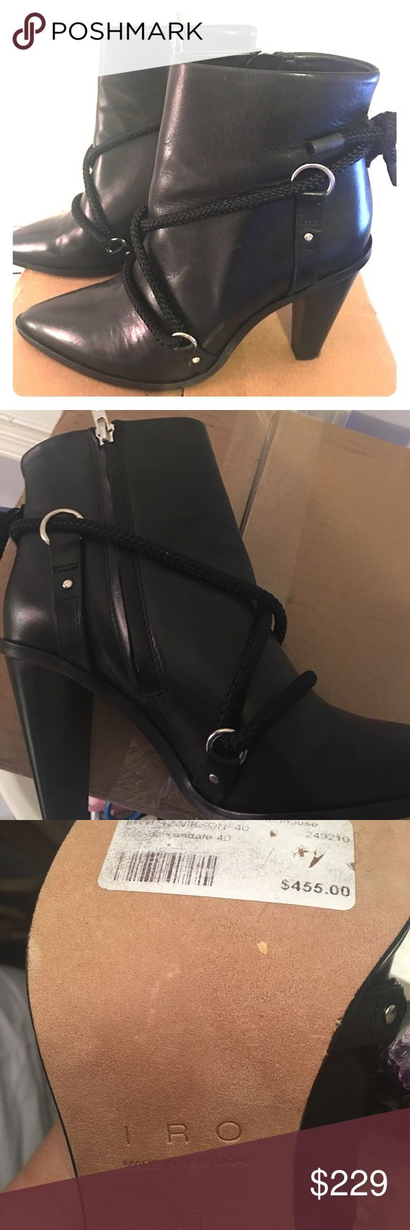 Italian imported genuine leather boots Italian imported real leather boots. Has a stylish wrap chord around each boot at the ankle. New never worn. Brand: IRO. Original price shown on boot bottom $455 Size euro 40 IRO Shoes Ankle Boots & Booties