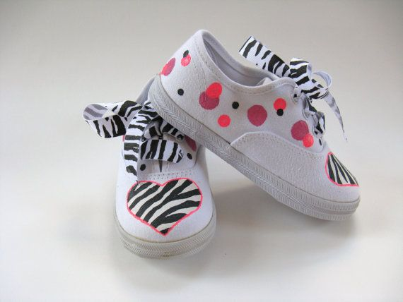 Girls Zebra Shoes Girl's Hand Painted por boygirlboygirldesign