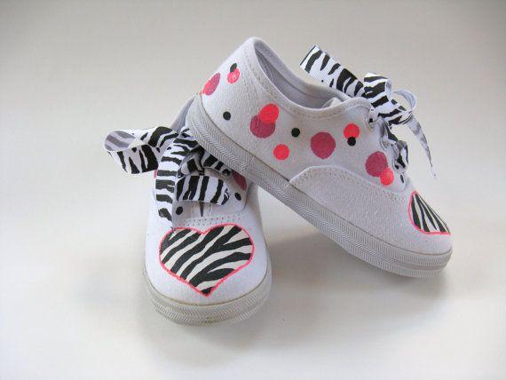 Girls Zebra Shoes Girl's Hand Painted por boygirlboygirldesign