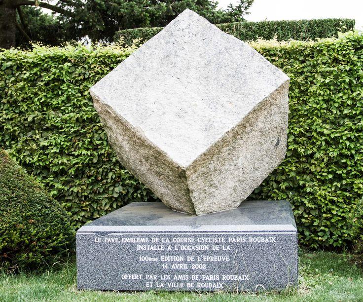 cobble monument at the entrance to Roubaix velodrome