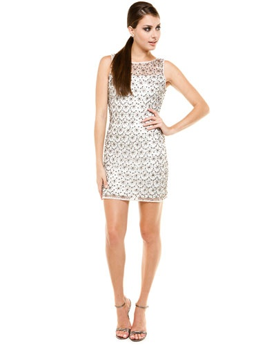 Aidan Mattox Ivory Beaded Shift Dress $139.... love it