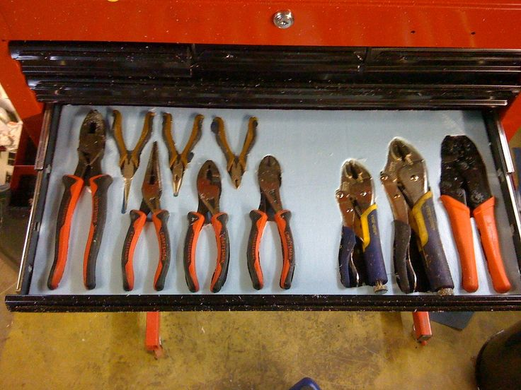 Tool Drawer Organizer by unorthodoxhybrids -- Homemade tool drawer organizer fashioned by routing tool outlines in insulating foam. http://www.homemadetools.net/homemade-tool-drawer-organizer-2