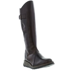 Fly London Mol 2 Womens Brown Leather Zip Up Wedge Boots Size UK 4-8