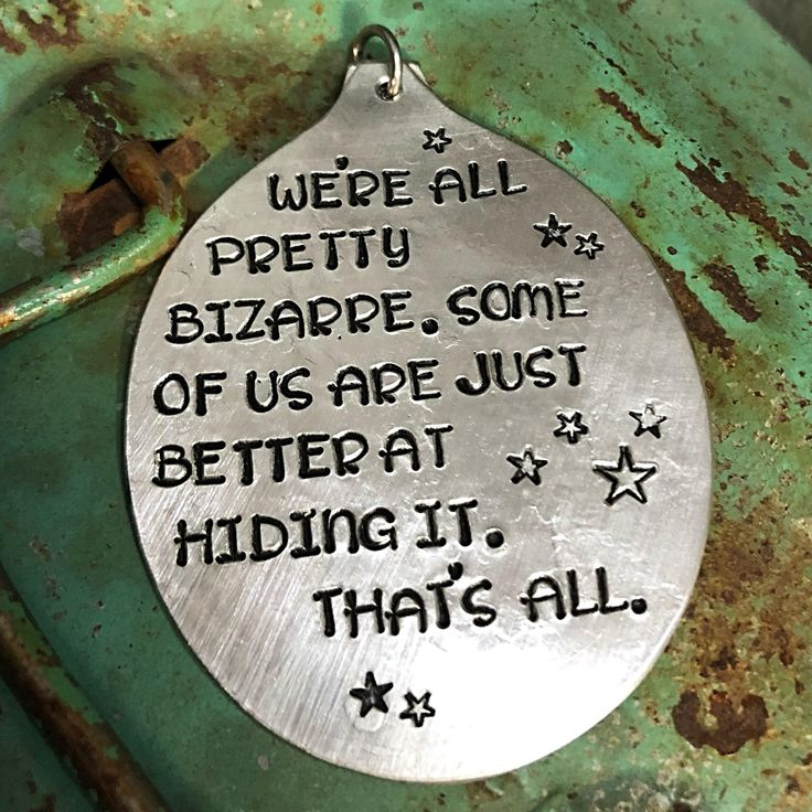 Stamped Vintage Upcycled Spoon Jewelry Pendant Charm - Quote - The Breakfast Club - We're All Pretty Bizarre. Some Of Us Are Just Better At by JuliesJunktique on Etsy