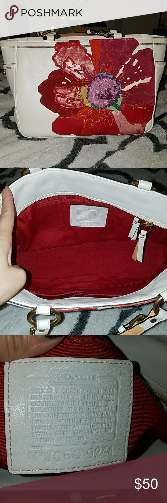 Coach Handbag White leather, Beautiful colorful suede floral design, red interior. Used, but well cared for. Coach Bags Satchels
