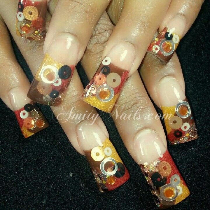 Flared nail design with inlays #AmityNails.com #acrylic