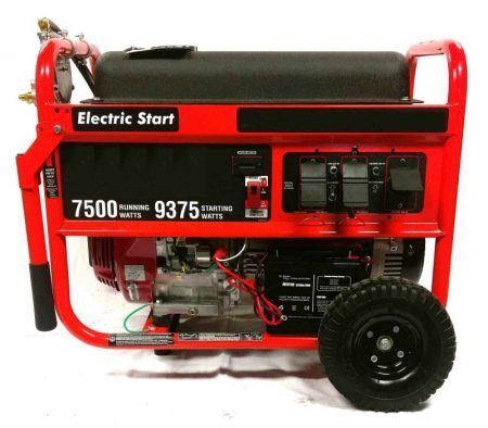 Tri Fuel generator 7500 watts, Honda engine GX390; Runs on natural gas, propane (LPG), and gasoline; Includes battery, battery charger, wheel kit, and Drainzit for easy oil changes without the need for tools; 8 gallon fuel tank; 2 Year Smart Generator Limited Warranty.