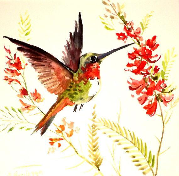 Hummingbird, original watercolor painting by Suren Nersisyan