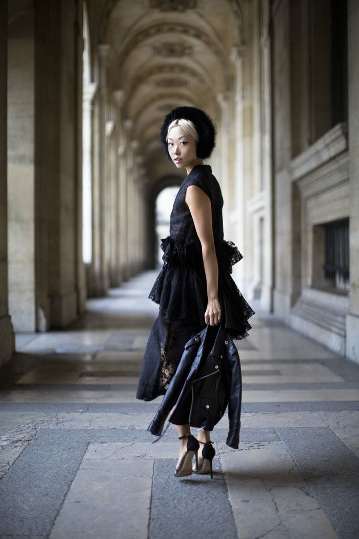 The Haute Pursuit wearing ONAR Magda Earmuffs at Paris Fashion Week