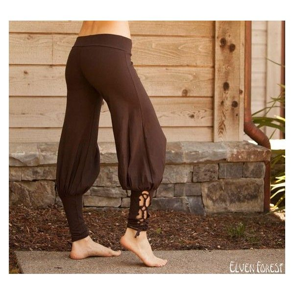 Lace Up Yoga Harem Pant with Cut Out lace up Ankle ❤ liked on Polyvore featuring pants, brown harem pants, checked pants, yoga trousers, cut out pants and brown yoga pants