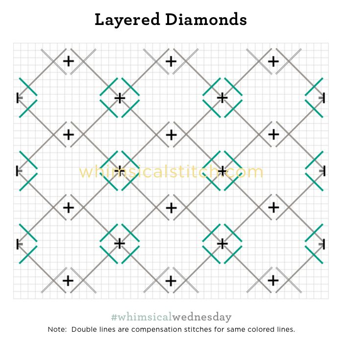 Layered Diamonds from December 27, 2017 whimsicalstitch.com/whimsicalwednesdays blog post.