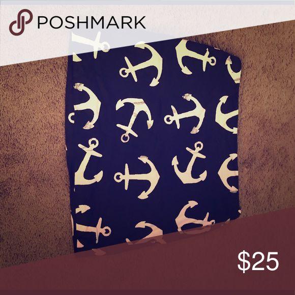 Mini Skirt, anchor pattern Nautical mini skirt, back zip, j.crew Skirts Mini