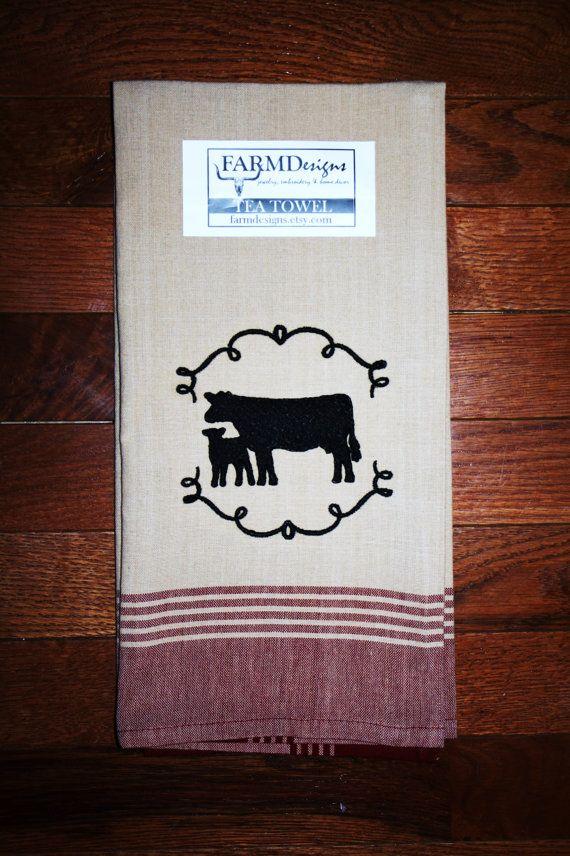 cattle cow calf towel~ ranch farm house towel show cattle decor ~ show cattle ~ 4H ~ FFA