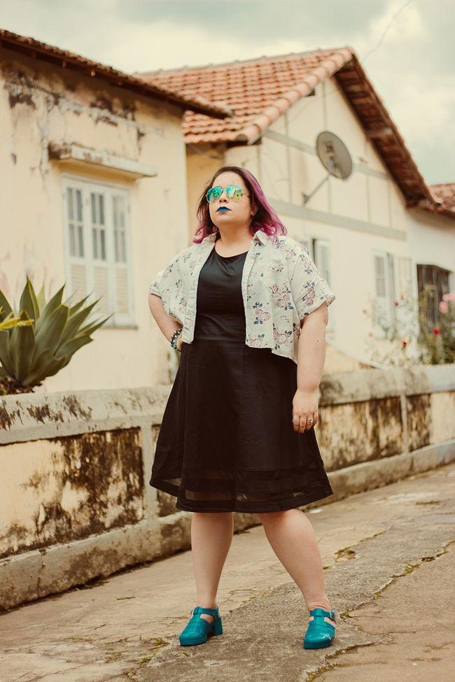 plus size look, black dress