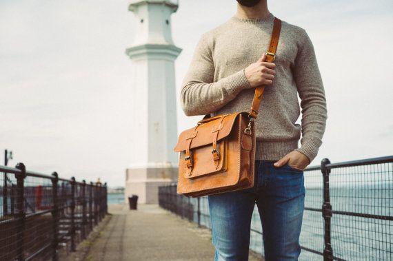 Messenger Bag Men 13 Leather Men's Briefcase by BennyBeeLeather