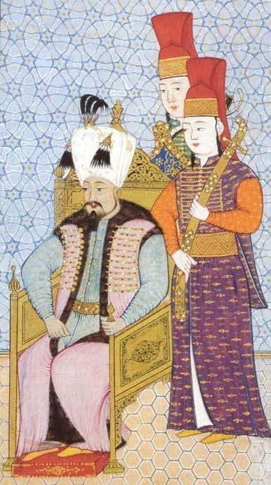 """Mehmet IV. (reg. 1648-1687) Besondere Leidenschaft hegte Mehmet IV. für die Jagd, die Regierungsgeschäfte überließ er eher den Großwesiren. Die Miniatur zeigt den thronenden Herrscher in Begleitung zweier Höflinge aus dem """"Inneren Dienst"""" des Sultanspalastes."""