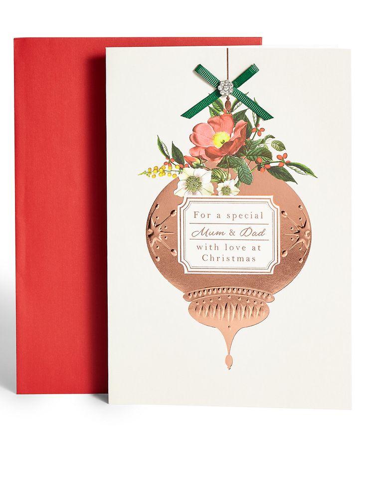 Mum u0026 Dad Bauble Christmas Card 24