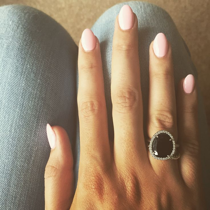 Baby pink almond nails...