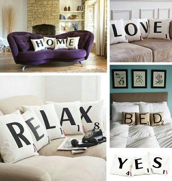 Me encantan las letras del scrabble para decorar, bien como sofás o como palabras colgadas en la pared.