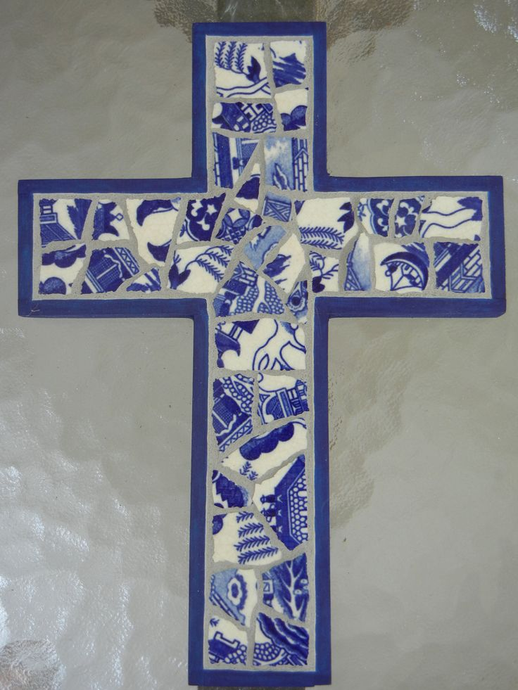 Majolica blue mosaic cross by MosaicMarie on Etsy