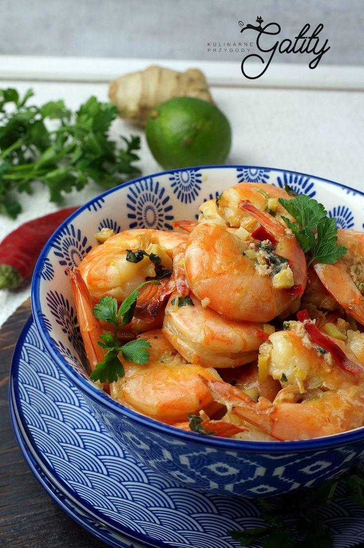 Kulinarne przygody Gatity - przepisy pełne smaku: Krewetki smażone w miodzie i imbirze