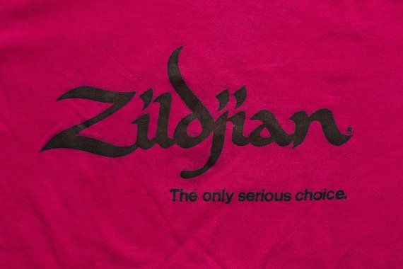Zildjian Turkish Cymbals T-Shirt, Genuine Avedis, Vintage 1980s, Only Serious Choice, Rock & Roll Drummer Graphic Tee, Drums, Rocker, Music