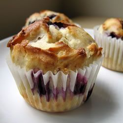 Blueberry Cream Muffins Allrecipes.com I just made these today but put Sugar in the Raw on top sooo yummy with fresh blueberries!!