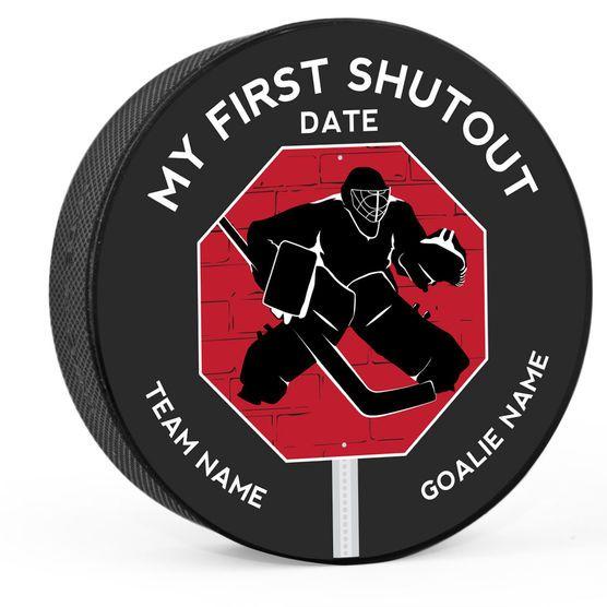 Personalized My First Shutout (Printed) Hockey Puck | Custom Pucks | ChalkTalk SPORTS