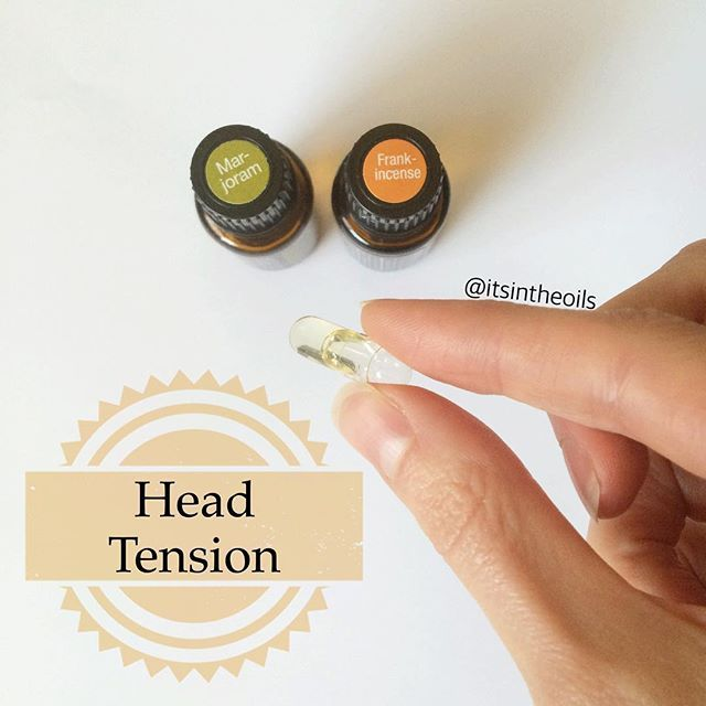 When you need to go beyond the Past Tense/Peppermint suggestions for your head tension. 6 drops each of Frankincense and Marjoram in a 00 veggie capsule. And here's why: Marjoram is valued for its calming properties and positive effect on the nervous system. When used can help reduce stress. Frankincense supports healthy cellular function. If you have any questions, email me at premiumessentialoils@gmail.com
