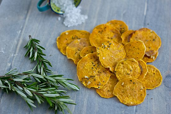 Baked Sweet Potato Chips with Rosemary