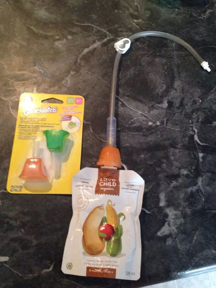 Babyfood pouch with a feeding tube extension