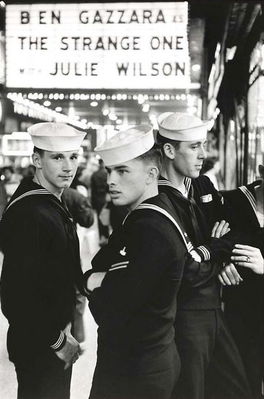 Sailors on shore leave, 42nd Street, New York, 1958, photo by Frank Paulin