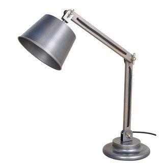 Lampe de bureau articul�e en bois et abat jour en m�tal gris d�lav� hauteur 62cm Serpi