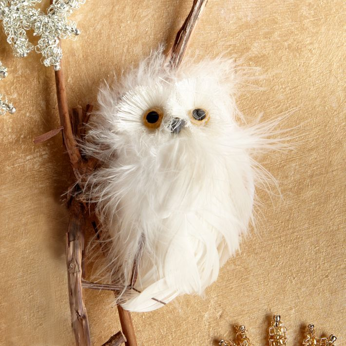 Cute—Feathery White Owl—Could also be put on the tree as an ornament. | west elm