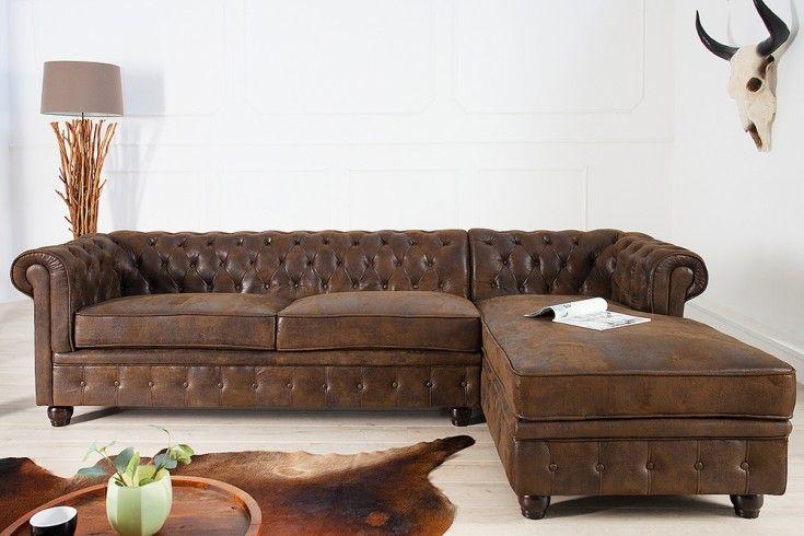 #super  -->  Edles Chesterfield Ecksofa im Antik Look OT rechts Eckcouch Sofas braun - Farbe:  Braun -  Microfaser --> €  699.00 //check out more -->  Riess-Ambiente.de